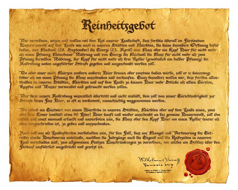 Reinheitsgebot - закон, регламентирующий производство пива в Германии